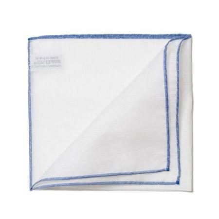 The essentials » White pocket handkerchief with blue edge