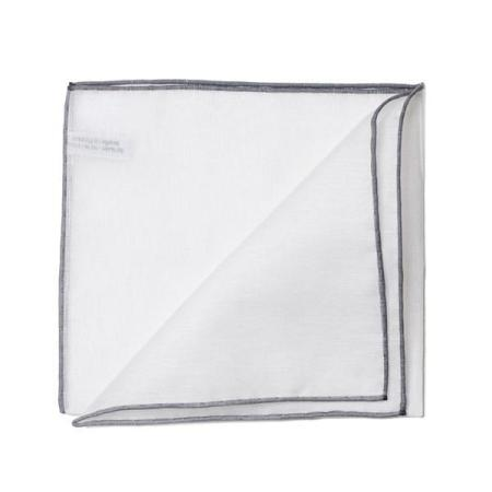 The essentials » White pocket handkerchief with grey edge