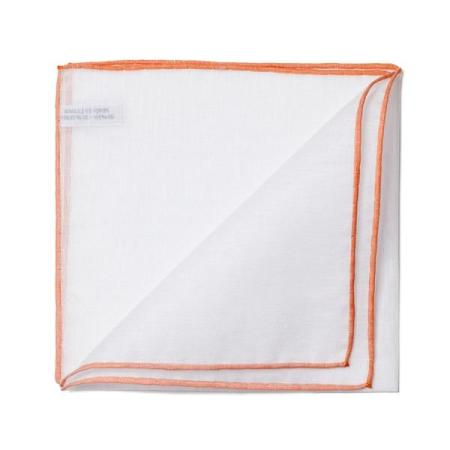 The essentials » White pocket handkerchief with orange edge