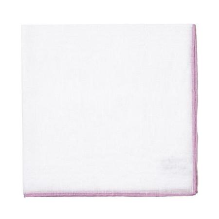 The essentials » White pocket handkerchief with lilac edge