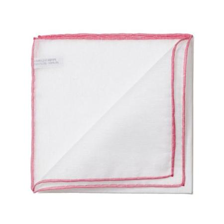 The essentials » White pocket handkerchief with pink edge