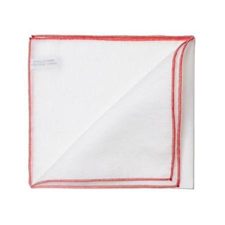 The essentials » White pocket handkerchief with red edge