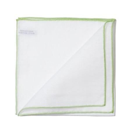 The essentials » White pocket handkerchief with light green edge