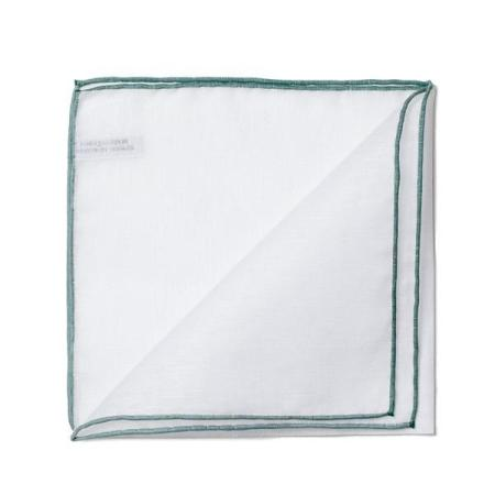 The essentials » White pocket handkerchief with bottle green edge