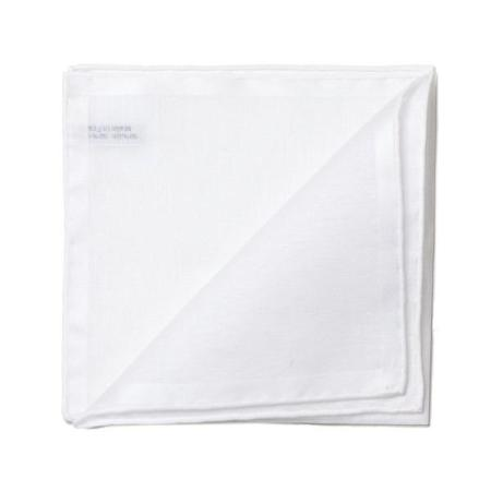 The essentials » White pocket square with white satin border
