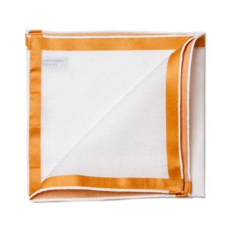 The essentials » White pocket square with gold satin border