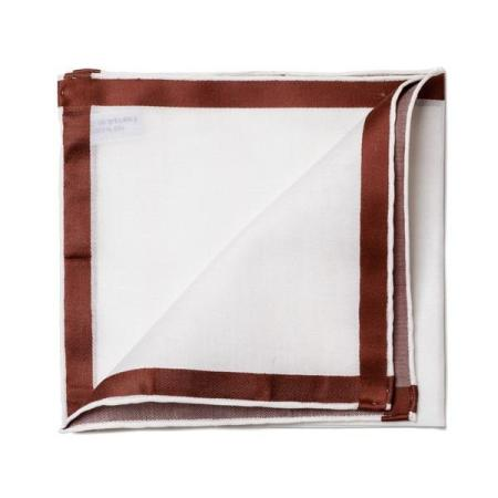 The essentials » White pocket square with brown satin border