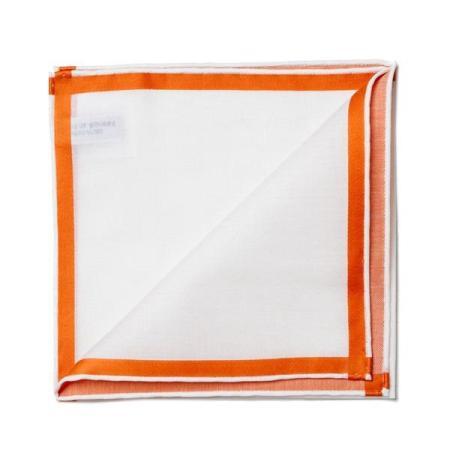 The essentials » White pocket square with orange satin border