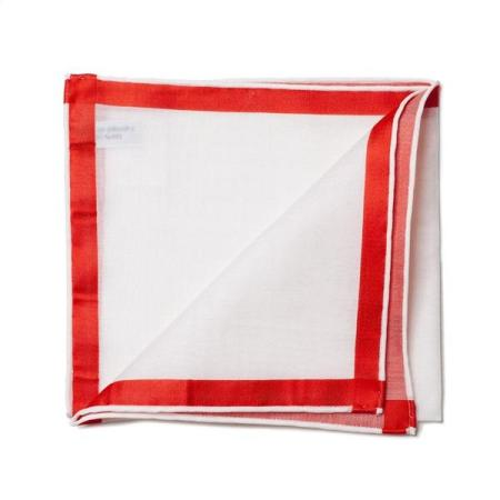 The essentials » White pocket square with red satin border