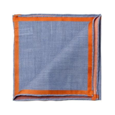 The essentials » Blue pocket square with orange satin border