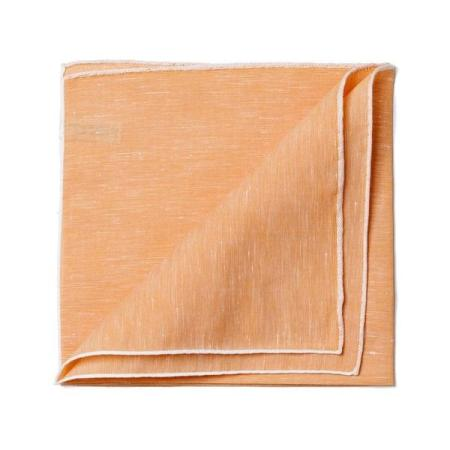 The essentials » Tan pocket square white edge