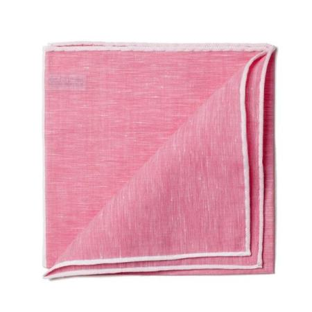 The essentials » Fuchsia pocket square white edge