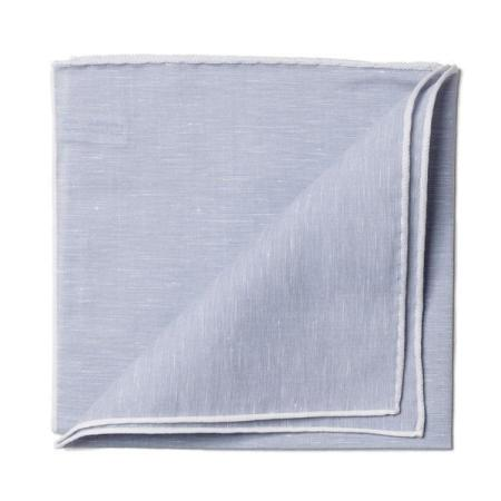 The essentials » Grey pocket square white edge