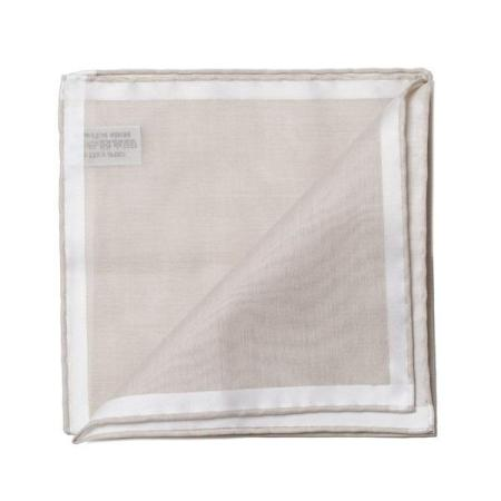 The essentials » Ivory pocket square with white satin border