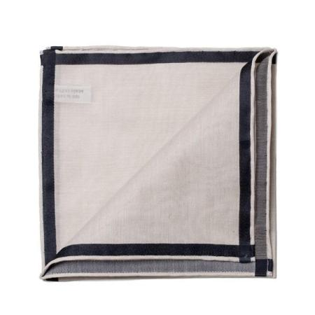 The essentials » Amalfi ivory pocket square with black satin border