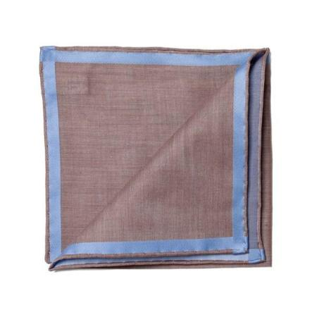 The essentials » Brown pocket square with sky satin border