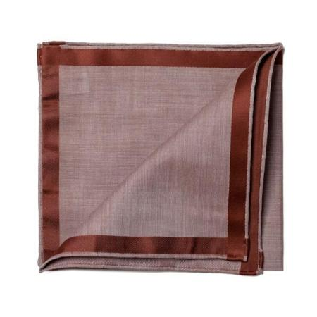 The essentials » Brown pochette with brown satin border