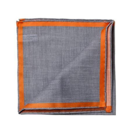 The essentials » Black pocket square with orange satin border