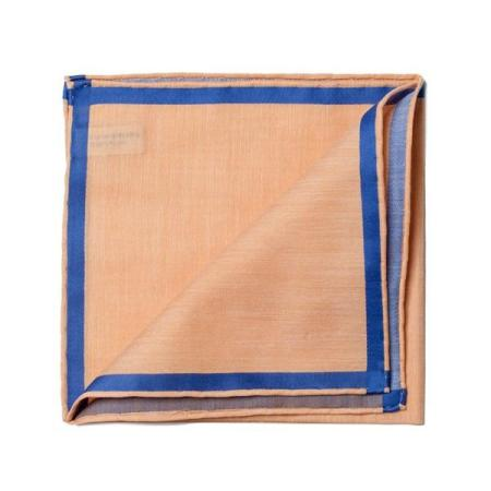 The essentials » Salmon pocket square with blue satin border