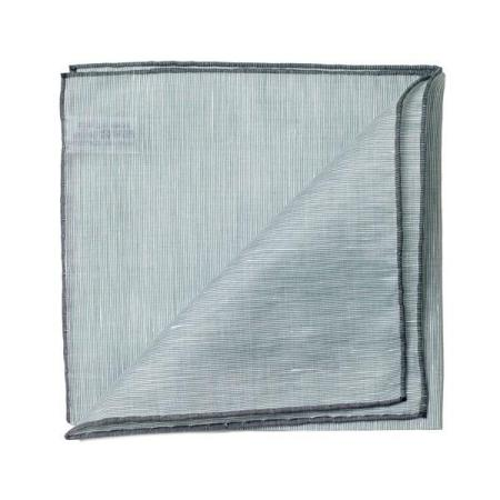 The essentials » Green pocket square with grey edge