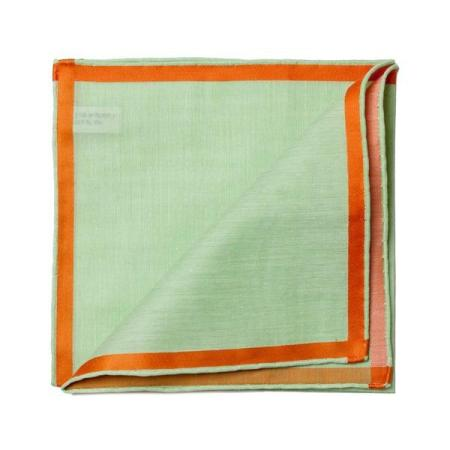 The essentials » Green pocket square with orange satin border