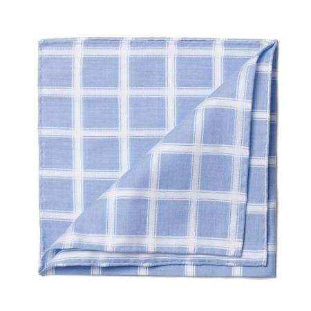 The essentials » Sky pocket handkerchief with white satin check