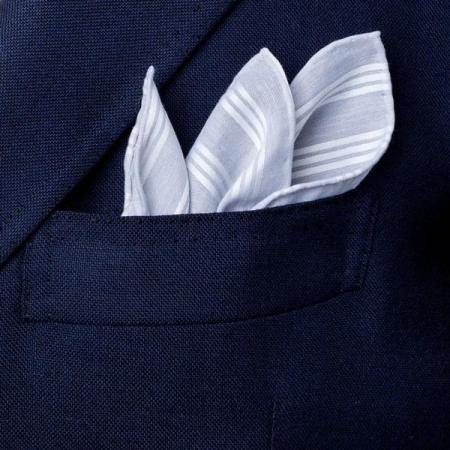 The essentials » Shirt silver pochette with white satin stripes