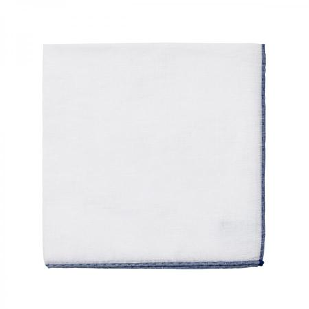 The essentials » White pocket handkerchief with indigo blue edge