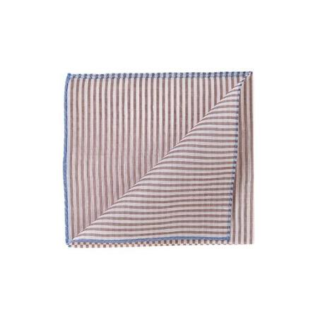 The essentials » Trouville brown stripes pocket square with blue edge
