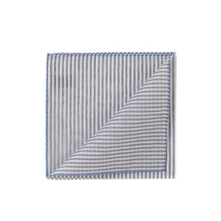The essentials » Trouville grey stripes pocket square with blue edge