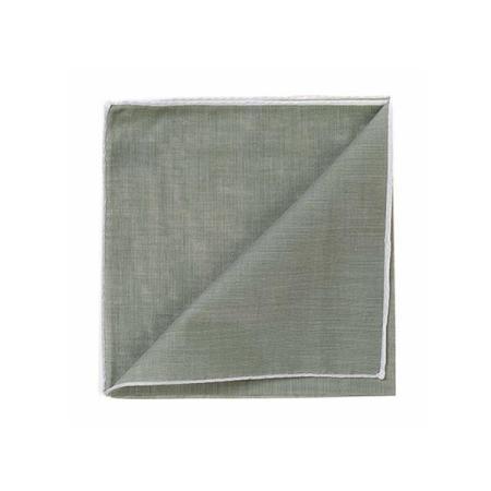 The essentials » HR kaki green handkerchief with white edge